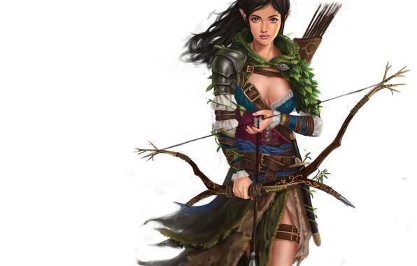 Картинка взгляд, лук, лучница, арт, эльфийка, стрелы