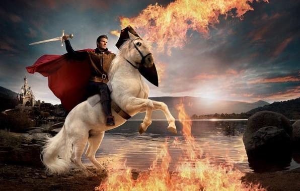 Картинка замок, огонь, пламя, меч, плащ, David Beckham, Дэвид Бекхэм, принц на белом коне