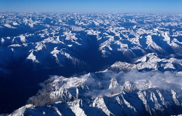 Картинка Горы, Снег, горизонт, Китай