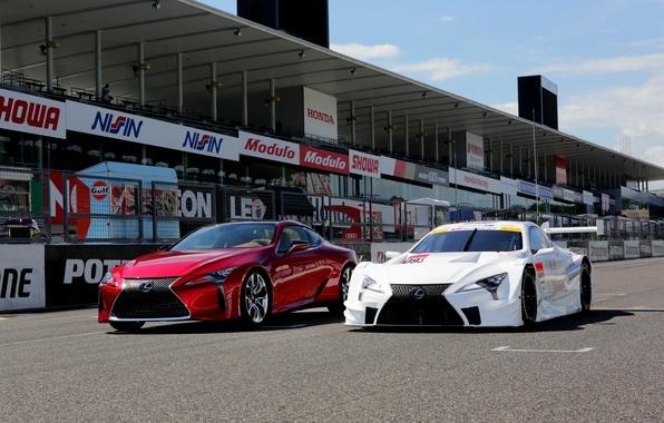 Картинка авто, Lexus, red, white, cars, лексус, two, track