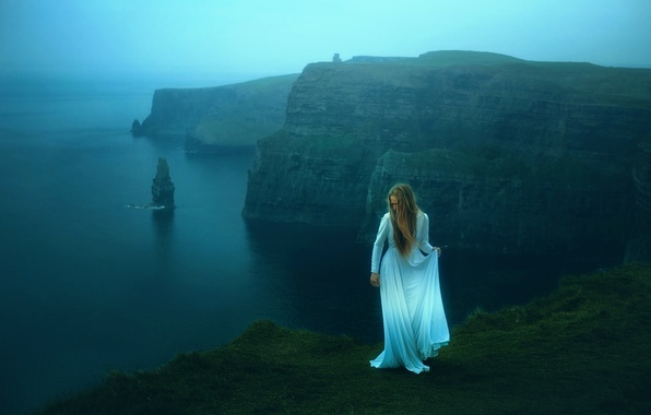Картинка море, девушка, скалы, платье, TJ Drysdale, Cliffs Of Moher