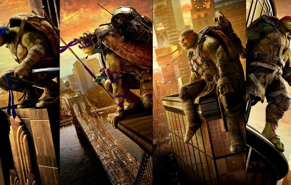 Картинка фэнтези, четверо, постер, Raphael, Leonardo, Donatello, Michelangelo, Teenage Mutant Ninja Turtles: Out of the Shadows, …