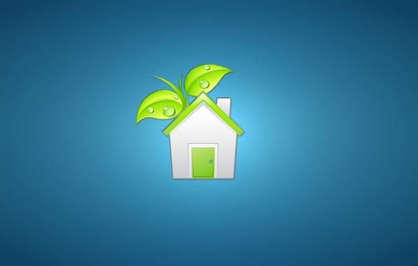 Картинка белый, листья, зеленый, дом, растение, минимализм, дверь, домик, house, синий фон