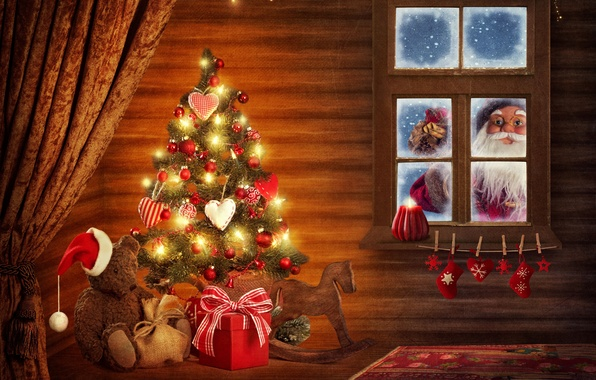 Картинка украшения, окна, елка, новый год, рождество, шляпа, капот, мишка, подарки, сердечки, windows, украшение, christmas, new …
