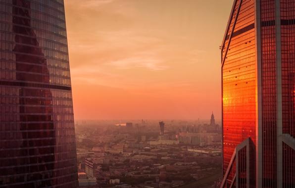Картинка city, dark, light, summer, sky, deep, sunset, beautiful, view, skyscraper, clouds, evening, morning, sun, dawn, …