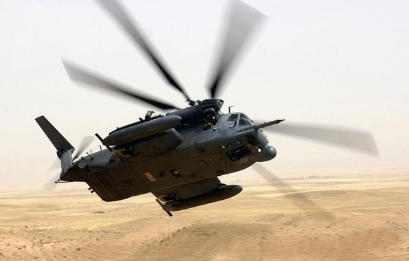 Картинка пустыня, полёт, вертолёт, разворот