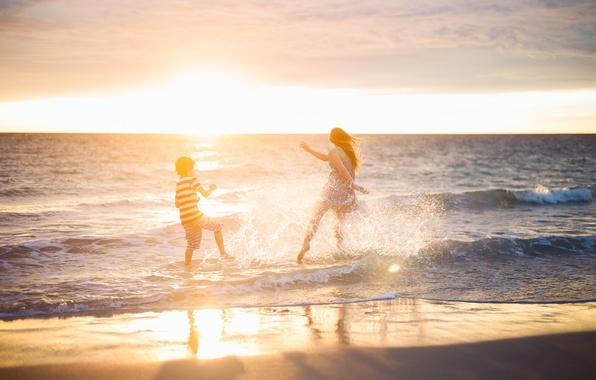 Картинка море, пляж, закат, настроение, женщина, мальчик
