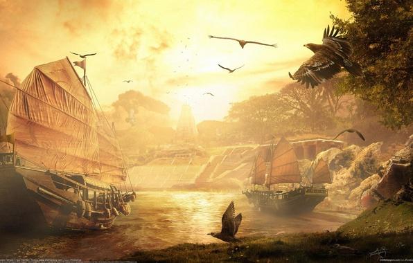 Картинка облака, закат, птицы, река, корабли, фэнтези, паруса, fantasy, CG wallpapers, Igor Staritsin, Древний храм, Ancient …