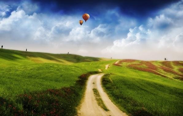 Картинка поле, облака, холмы, шары, Дорога, 157