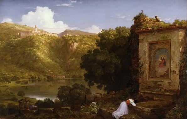 Картинка небо, пейзаж, горы, озеро, картина, молитва, Thomas Cole