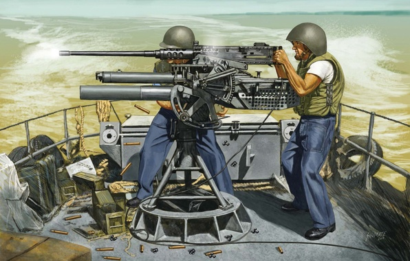 Картинка огонь, арт, художник, солдаты, пулемет, США, морская, системы, M2 Browning, пехота, Браунинг, пулемета, станковый, ведет, …