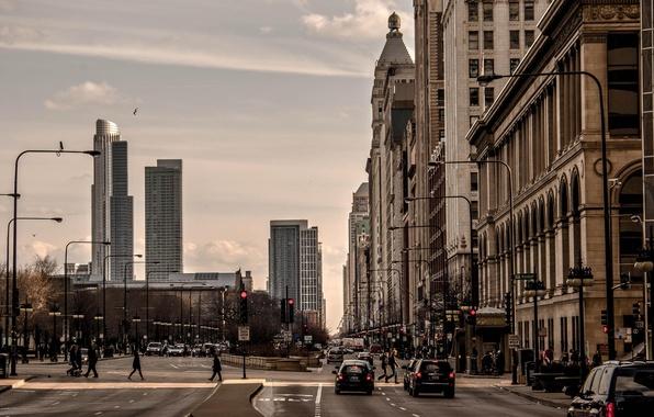 Картинка машины, город, движение, люди, улица, небоскребы, Чикаго, Иллиноис