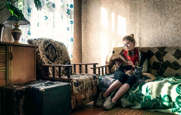 Картинка девушка, кошки, диван, мебель, старый дом, Maxim Guselnikov, Ирина Попова, Cat Lady