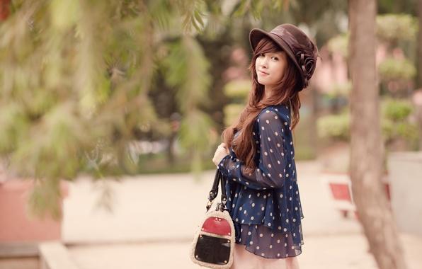 Картинка взгляд, девушка, шляпа, брюнетка, азиатка