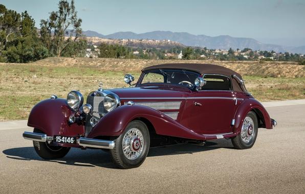 Картинка Mercedes-Benz, Мерседес, кабриолет, передок, 540K, 1937, Cabriolet A