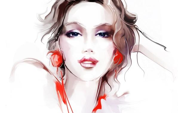 Картинка глаза, взгляд, девушка, лицо, фон, волосы, рука, серьги, макияж, красные, Tatiana Nikitina