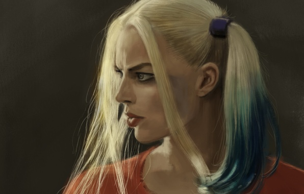 Картинка девушка, рисунок, арт, блондинка, косички, персонаж, Харли Квинн, Harley Quinn, Margot Robbie, Марго Робби, Suicide …