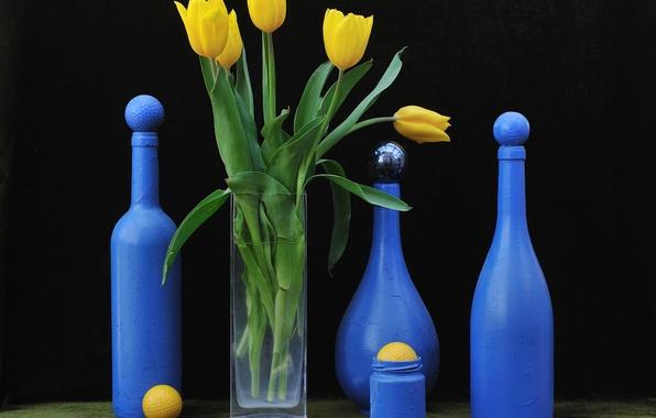 Картинка цветы, тюльпан, бутылка, арт, натюрморт