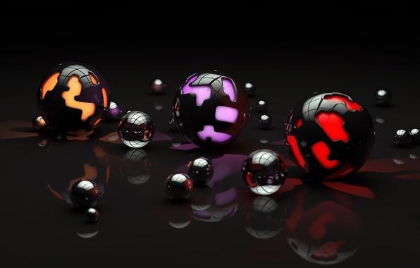 Картинка поверхность, свет, отражение, шары, узор, арт, разные, сферы