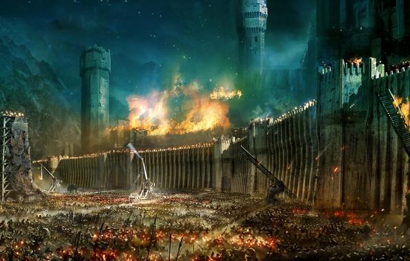 Картинка война, Властелин Колец, штурм, The Lord of the Rings, Минас-Тирит