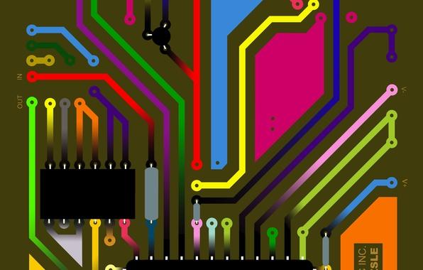 Картинка фон, плата, дорожки, цепи, оборудование, электронное, микрочип