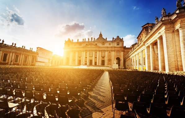 Картинка солнце, закат, город, люди, стулья, площадь, Рим, Италия, собор, Italy, Rome, Ватикан, Basilica di San …