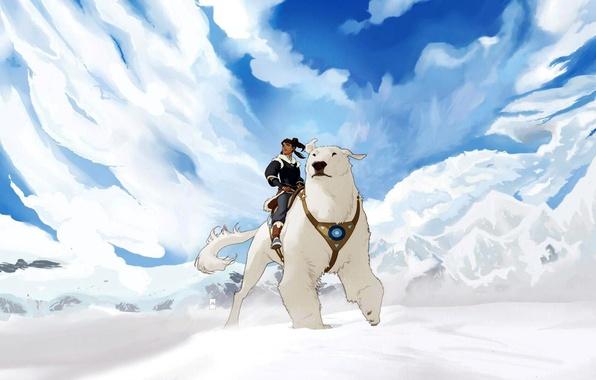 Медведь и девушка арт
