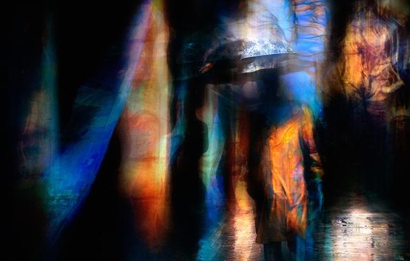 Картинка абстракция, город, человек, зонт
