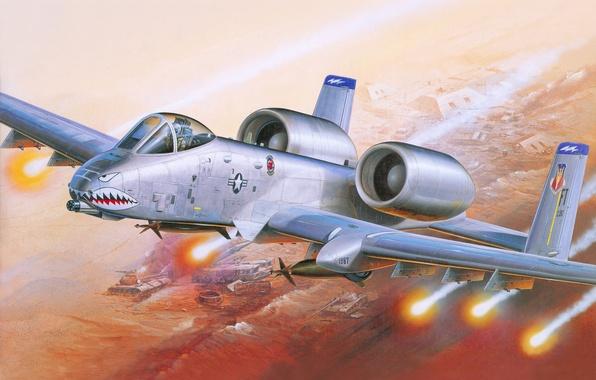 Картинка авиация, война, ракеты, арт, штурмовик, самолёт, американский, A-10
