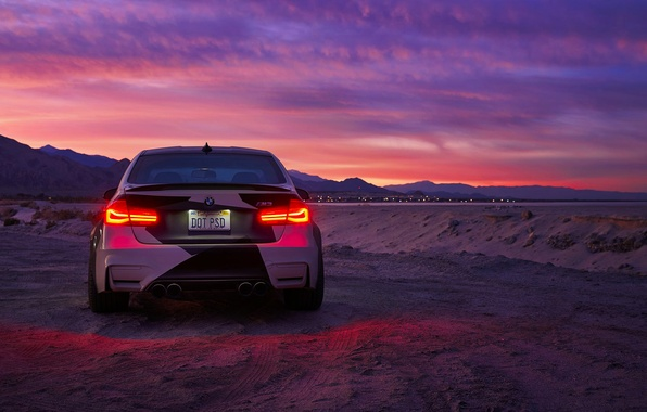 Картинка BMW, Light, Clouds, Sky, Black, Sunset, White, Rear, And