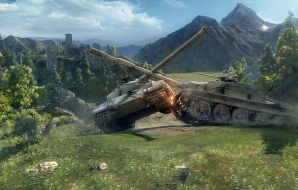 Картинка танки, физика, World of tanks, WoT, средний танк, мир танков, Bat Chatillon 25 t, СУ-122-54, …