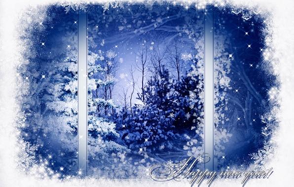 Картинка зима, снег, деревья, снежинки, узор, елка, окно, Новый год, Happy New Year