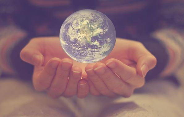 Картинка земля, мир, планета, шар, руки, пальцы