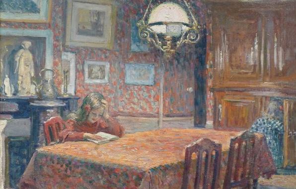 Картинка стол, комната, интерьер, картина, девочка, жанровая, Анри Лебаск, Под лампой