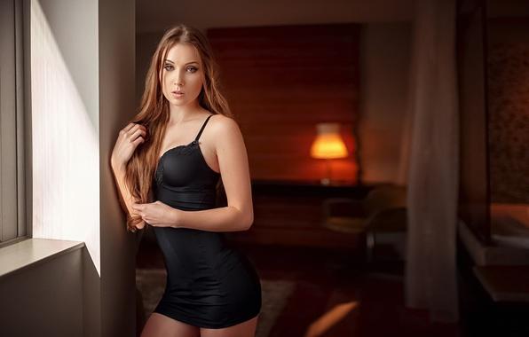 Картинка Девушка, Взгляд, Черное, Платье, Viki, Прелесть