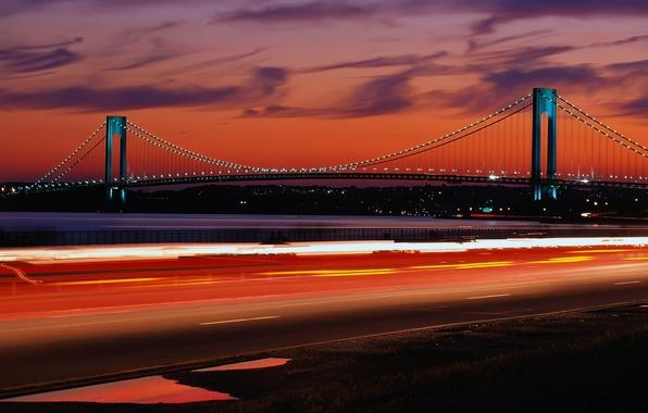 Фото обои дорога, свет, пейзаж, ночь, мост