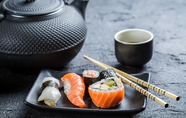 Картинка палочки, чайник, rolls, sushi, суши, роллы, японская кухня, соевый соус, sticks, soy sauce, Japanese cuisine, …