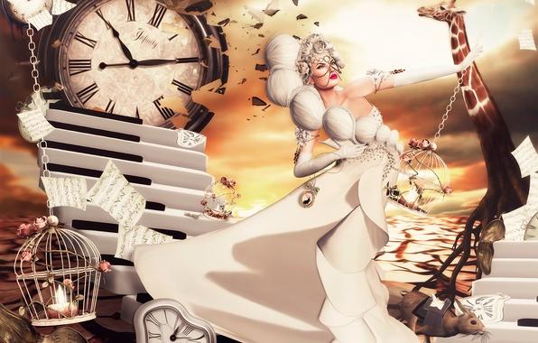 Картинка девушка, фантазия, платье, арт, Nadja Baxter, Dreams:Running Late