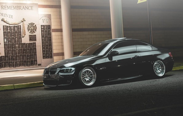 Картинка вечер, BMW, БМВ, обочина, tuning, E92