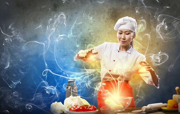 Картинка девушка, креатив, дым, повар, азиатка, овощи, помидоры, капуста, готовка, тёрка