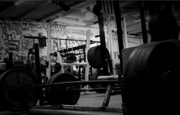 Картинка чёрно-белое, зал, штанга, gym, тренажёрный