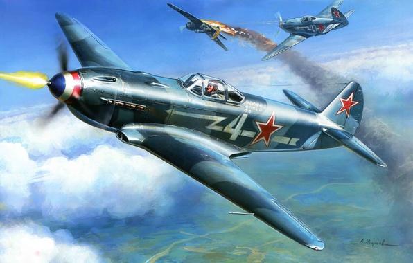 Картинка самолет, один, истребитель, воздушный, был, это, советский, одномоторный, бой., Як-3, небе, самых, истребителей, Фронтовой, легких, ...