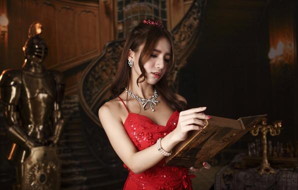 Картинка девушка, лицо, стиль, красное, макияж, платье, книга, азиатка