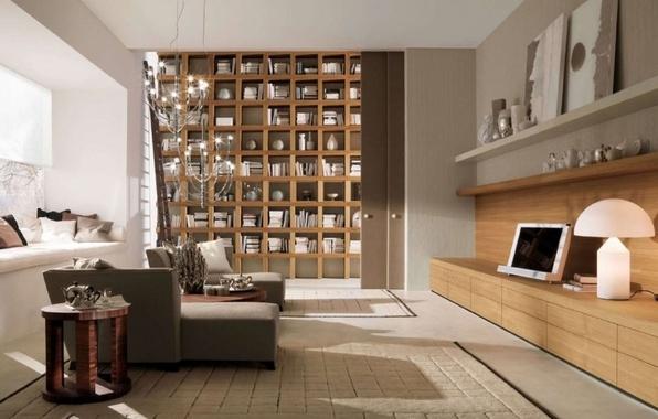 Картинка дизайн, стиль, комната, интерьер, библиотека, гостиная