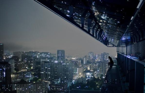 Картинка ночь, город, огни, одиночество, высота, мегаполис