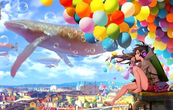 Картинка небо, кот, девушка, облака, шарики, город, пузыри, дома, аниме, наушники, арт, neko, catteeth