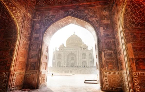 Картинка пейзаж, Индия, Тадж-Махал, мечеть