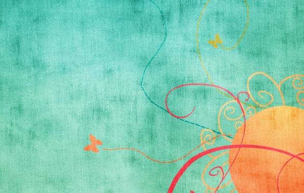 Картинка солнце, узор, бабочка, рисунок, цвет, ткань