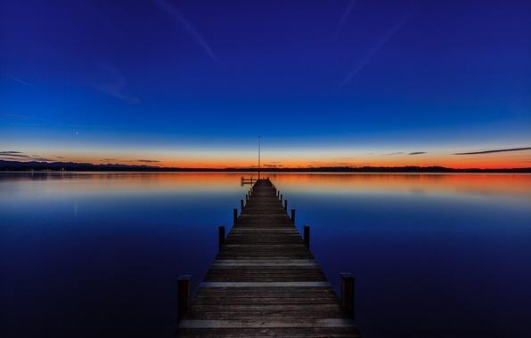 Картинка закат, Германия, причал, Бавария, Germany, Bavaria, озеро Штарнбергер-Зе, Starnberger See, Lake Starnberg