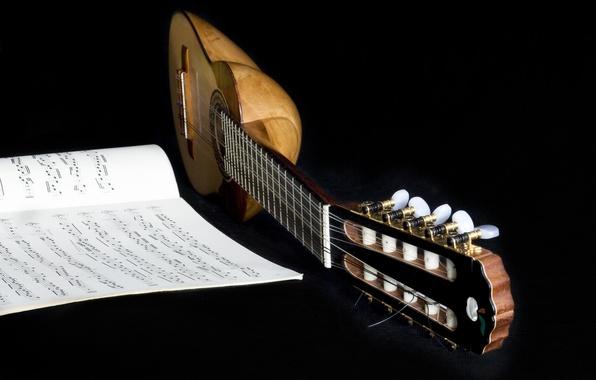 Картинка ноты, фон, гитара